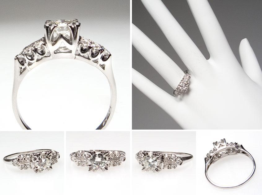 Vintage Transitional Diamond Engagement Ring 7325