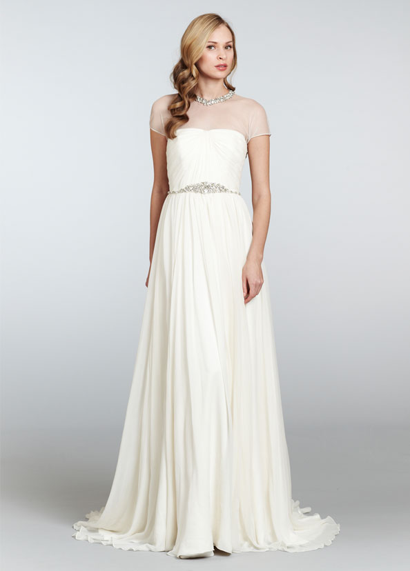 Hayley Paige Crystal Collared Wedding Dress