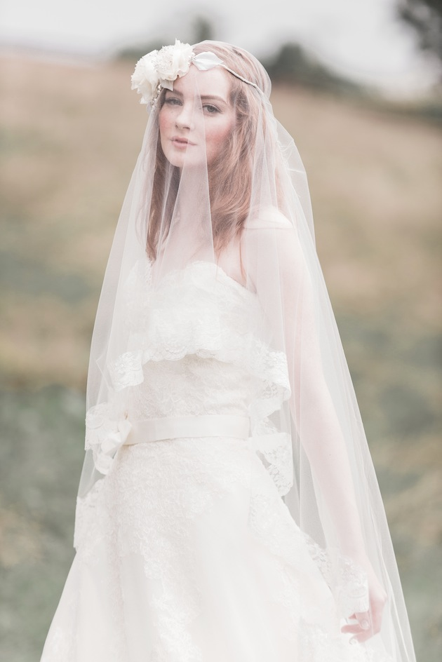 Maud French Veil and Renee Floral Halo - Enchanted Atelier Fall Winter 2013 Collection