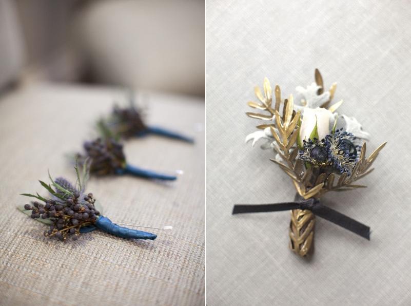 Blue Autumn Boutonnieres