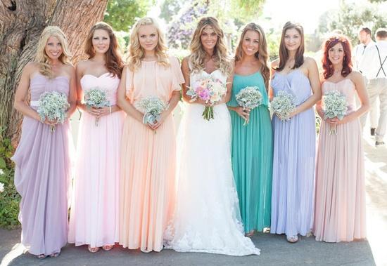 Mismatched Pastel Bridesmaids Dresses - Different Pastel Shades