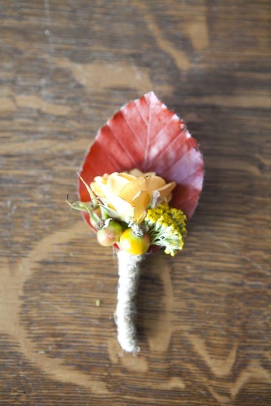 Leaf & Rose Autumn Boutonniere