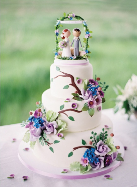 Sugar Icing Decorated Wedding Cake In Blue Purple