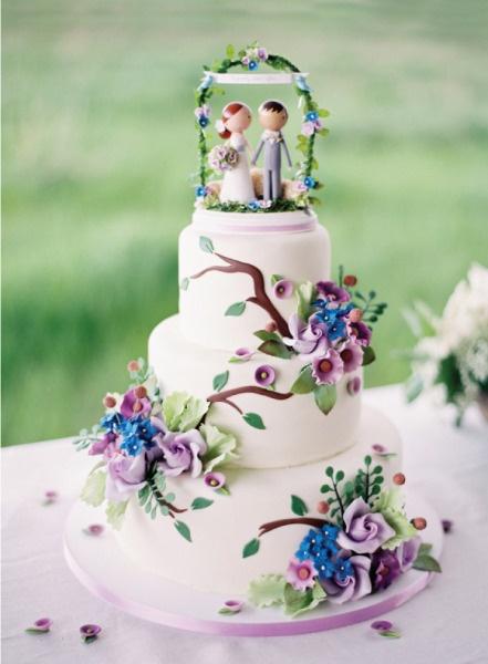Sugar Icing Decorated Wedding Cake In Blue Purple Chic Vintage