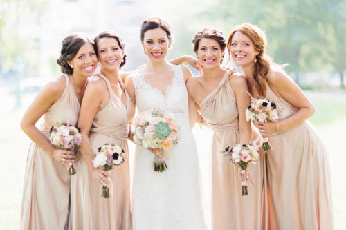Mismatched Bridesmaids - Same Colour Different Style Dresses
