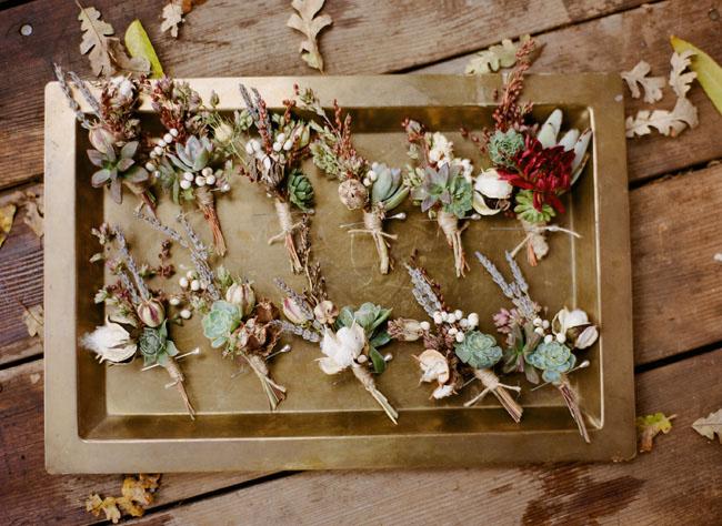 Succulent Autumn Boutonnieres