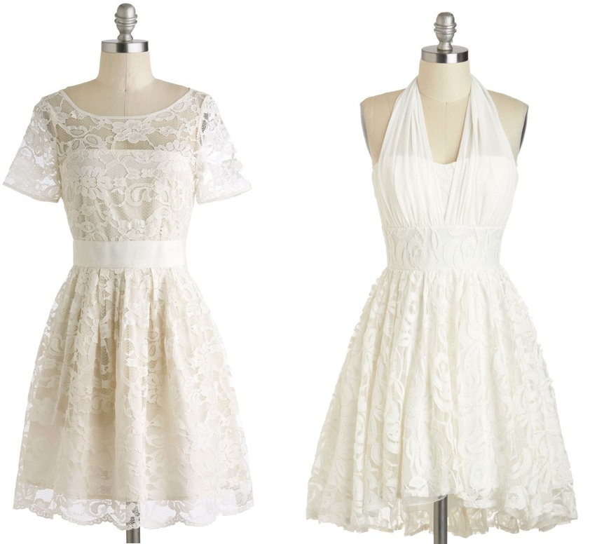 Ivory 1950s Inspired Bridesmaids Dresses from Modcloth