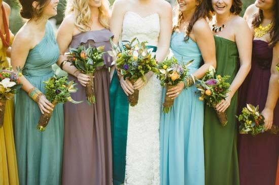 Mismatched Bridesmaids Complimentary Colours