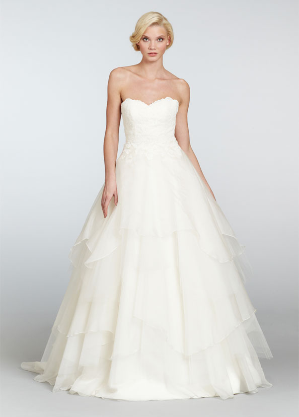 Hayley Paige Strapless Ball Gown Wedding Dress 6309