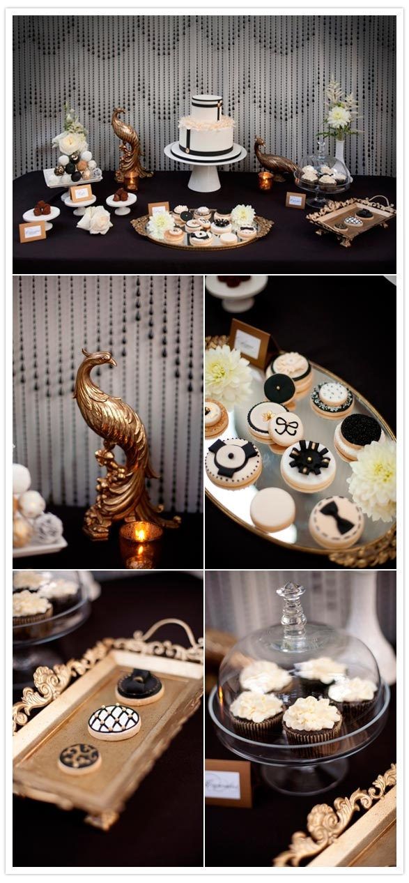 Elegant Dessert Table in Black White & Gold