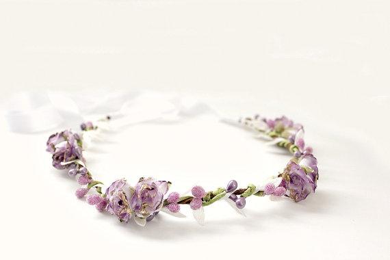 beautiful lilac//lavendar rose and crystal gold tiara
