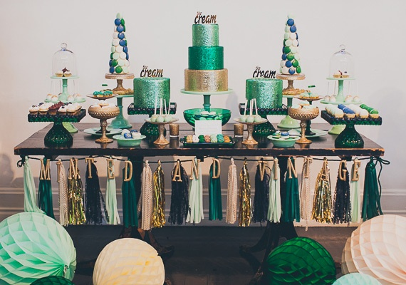 Elegant Dessert Table in Green & Gold