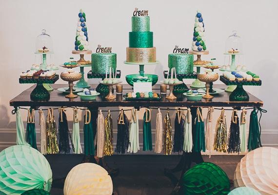 Elegant Dessert Table in Green & Gold