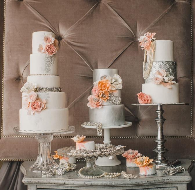 Elegant Dessert Table Peach & Silver