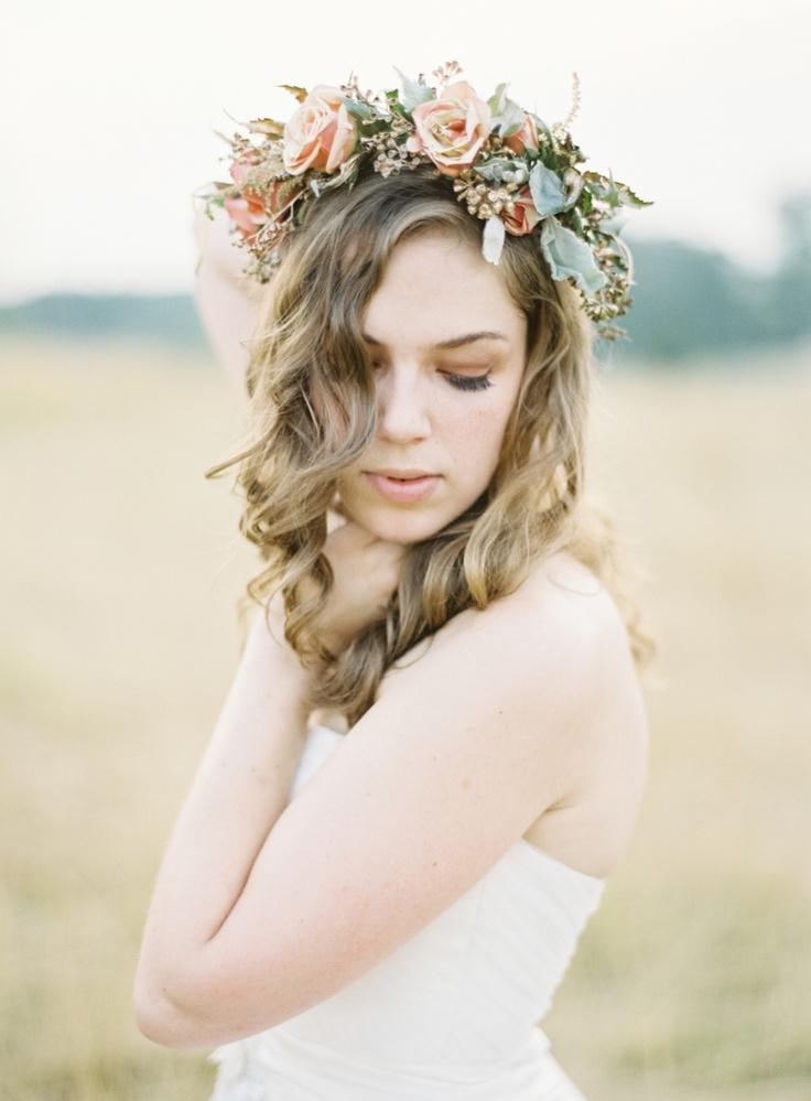 Blush rose flower crown wedding rustic floral headband bride