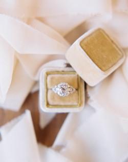 Art Deco Vintage Engagement Ring in a Velvet Vintage Ring Box