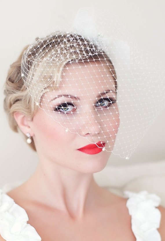 Blusher Veil from Powder Blue Bijoux
