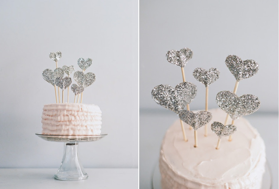 Diy Glitter Heart Wedding Cake Topper