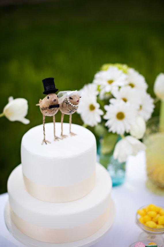 Paper Mache Bird Cake Toppers