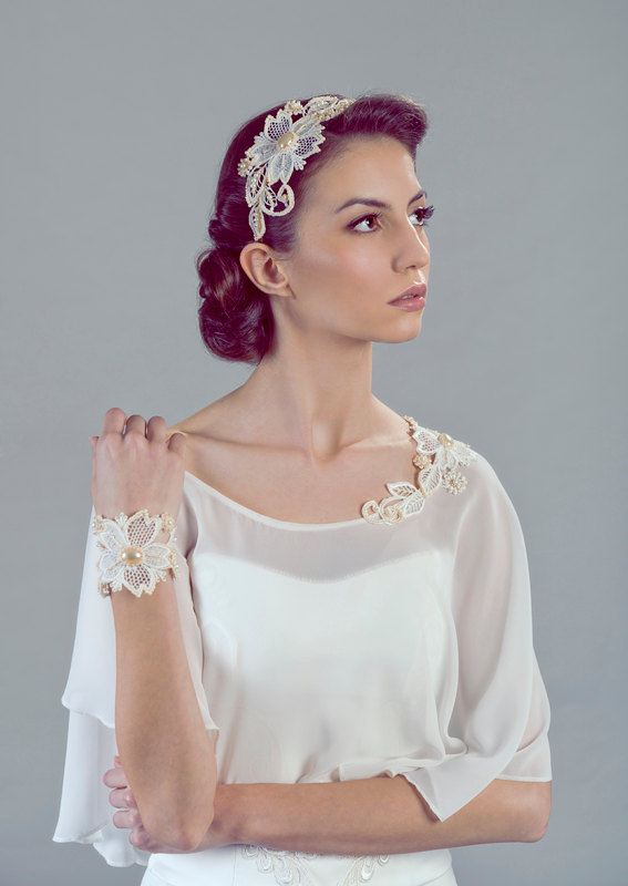 The Three Graces Bridal Cape, Headpiece and Bracelet Ensemble from Petite Lumiere