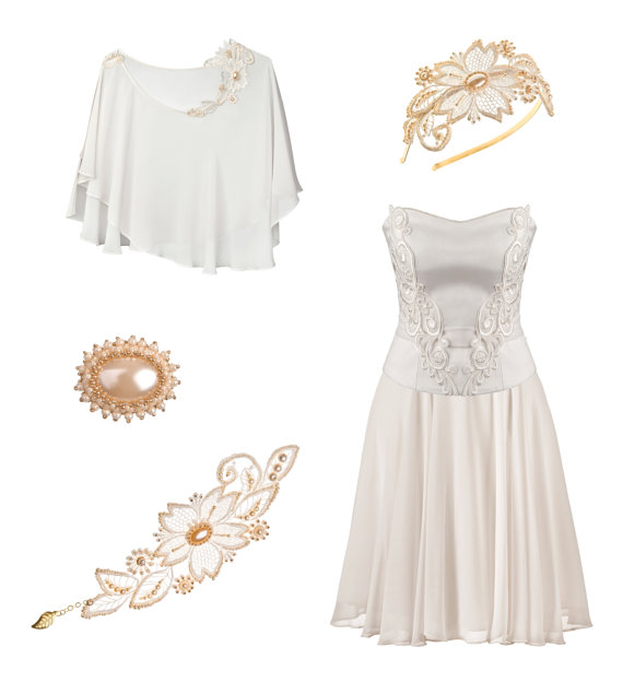 Tre-Grazie Short Wedding Dress Ensemble from Petite Lumiere