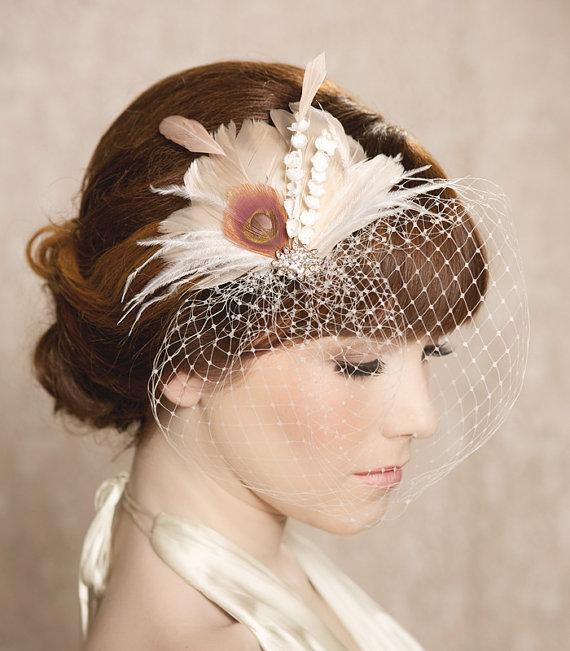 IDA Ivory Blush Bridal Head Piece Feather Fascinator from Gilded Shadows