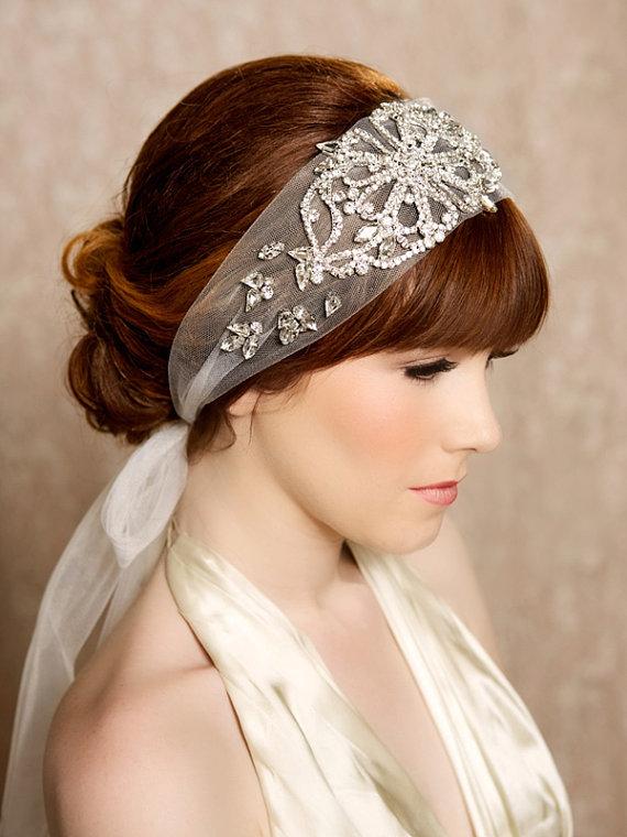 MYRTLE Crystal Headband Veil Head Wrap Art Deco from Gilded Shadows