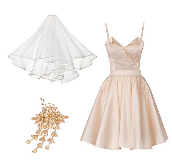 Akemi Short Silk Wedding Dress Ensemble