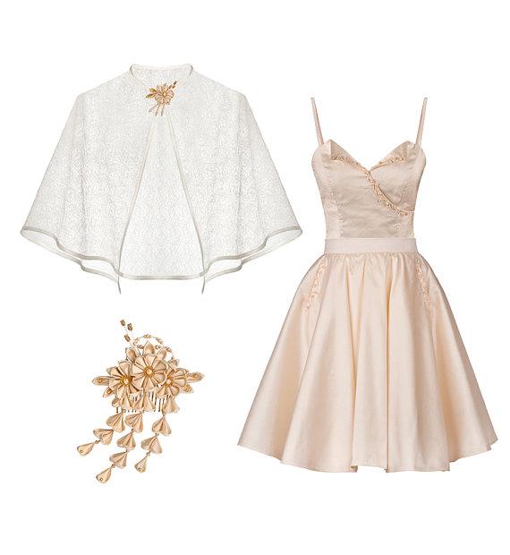 Emiko Short Silk Wedding Dress Ensemble
