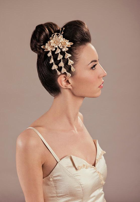 Fuji Silk Flowers Bridal Headpiece