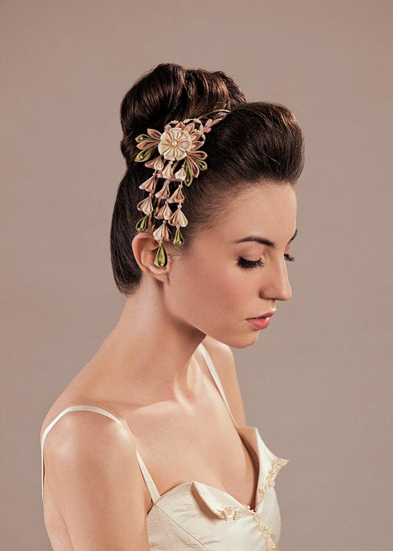 Marici Silk Wedding Dress Ensemble Headpiece