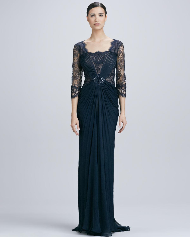 Tadashi Shoji Lace Overlay Illusion Gown