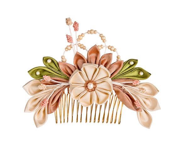 Sakura Silk Flowers Bridal Headpiece Comb