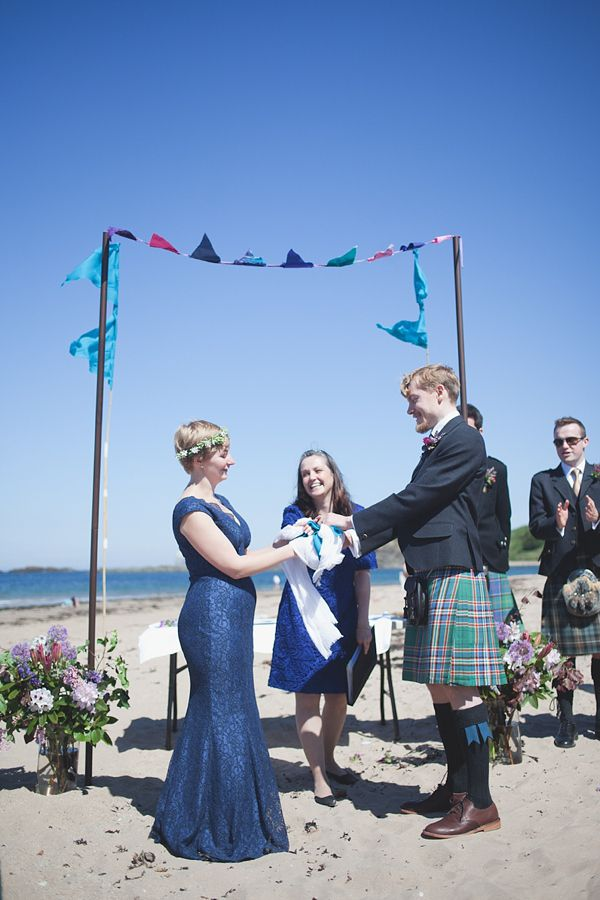 Barefoot Bride in a Blue Lace Dress for a Beach Wedding