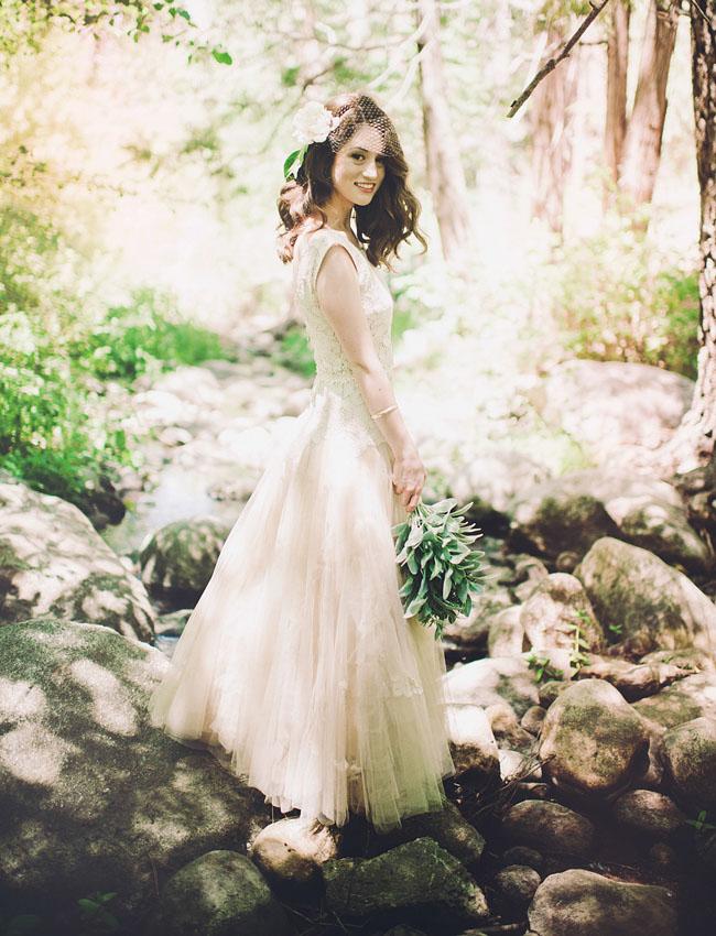 Bride in Blush for a DIY Camp Wedding