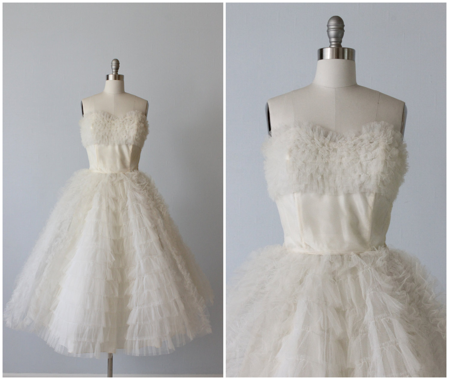 Strapless Vintage 1950s Tea Length Wedding Dress