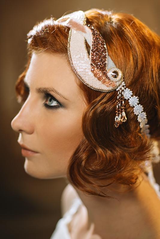Rosalie Art Deco Unique Bridal Headpiece