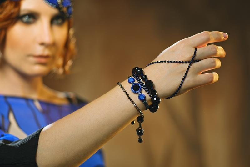 Marion Dazzling Sapphire Blue and Black Bracelets Set