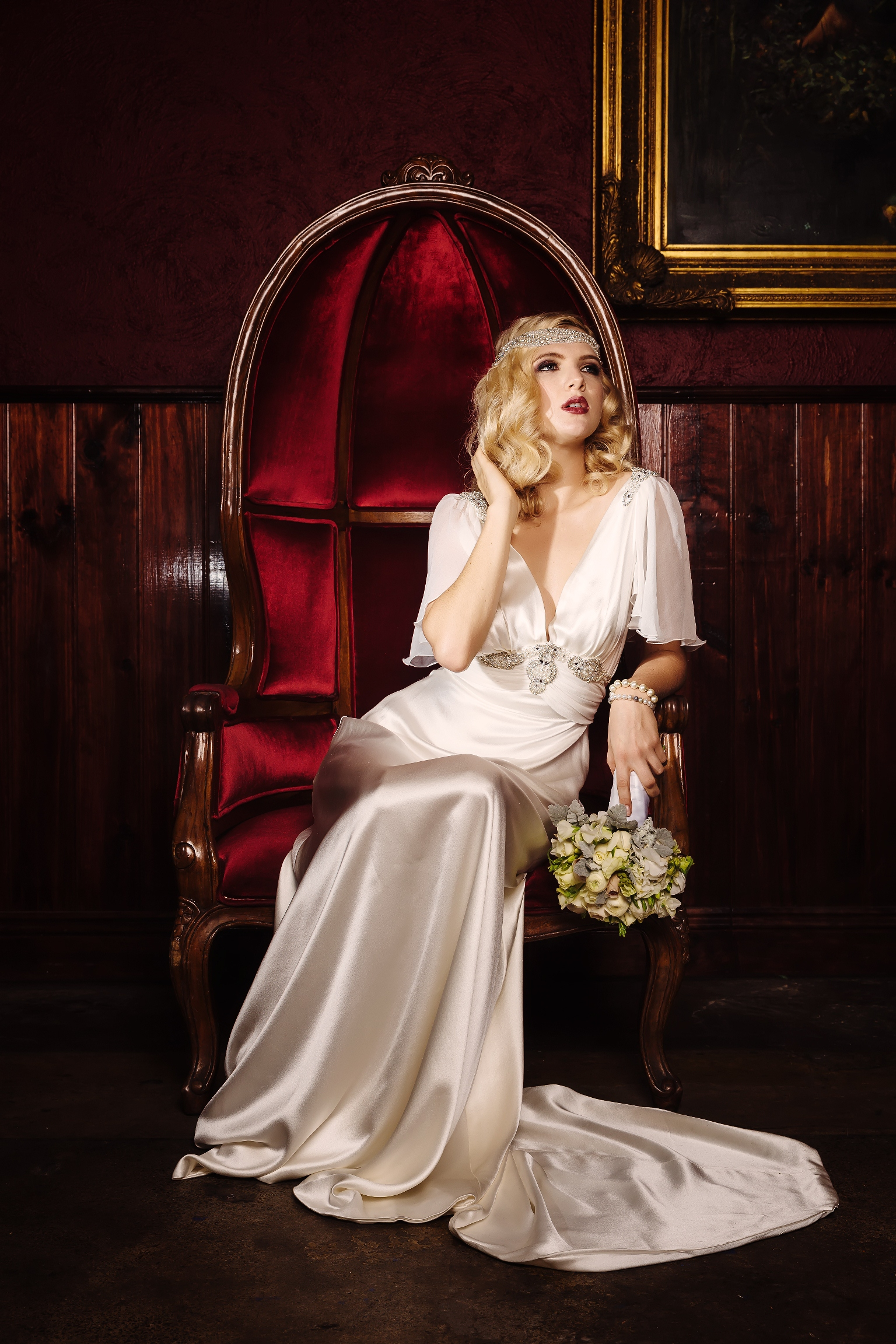 Glamorous Old Hollywood Bridal Shoot With Cathleen Jia Wedding Dresses Accessories