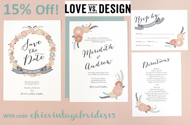 15 Off Love vs Design Wedding Stationery Chic Vintage Brides