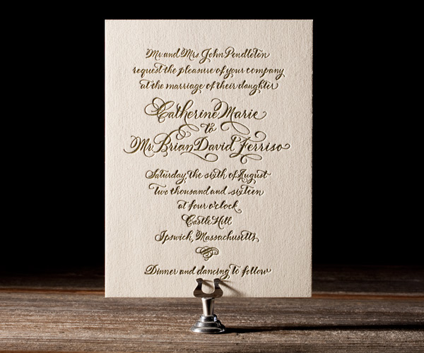 Classic Calligraphy Letterpress Stationery from Bella Figura