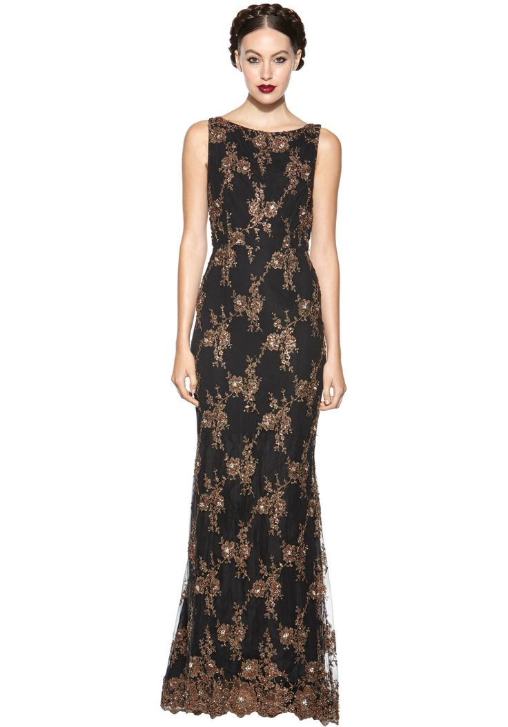 Black & Gold Maxi Dress from Alica & Olivia