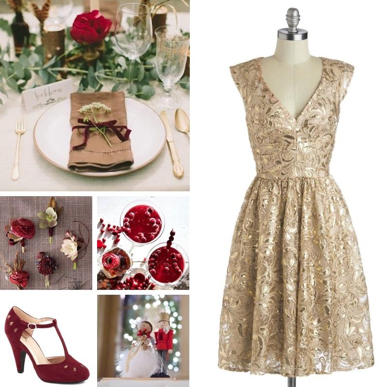 Cranberry Christmas Wedding Inspiration Board