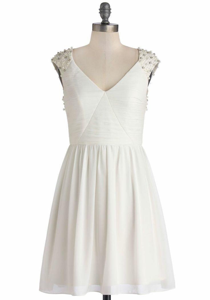 Ivory Glitz Cap Sleeves Dress from Modcloth