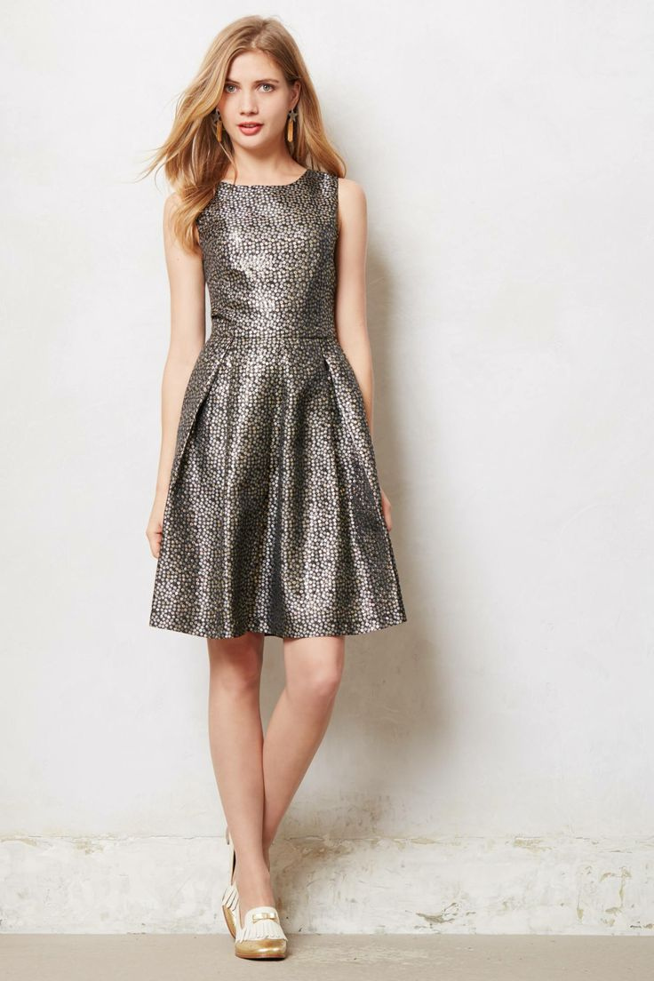 Silver Brocade Dress from Anthropologie