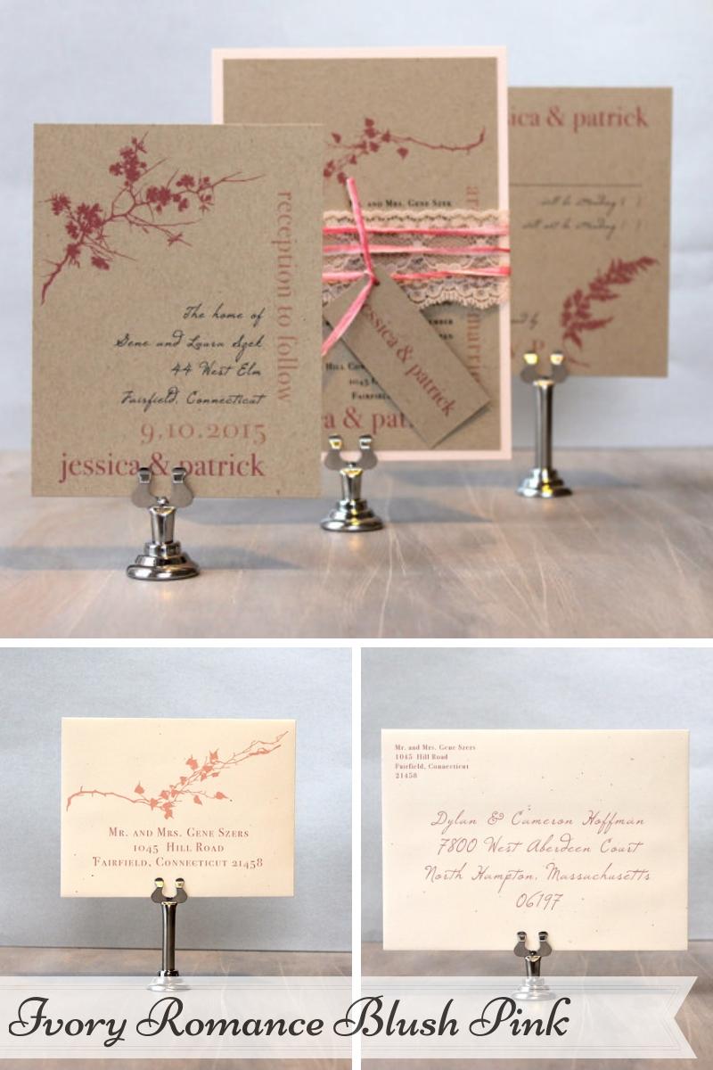Beacon Lane Wedding Stationery -  Ivory Romance Blush Pink