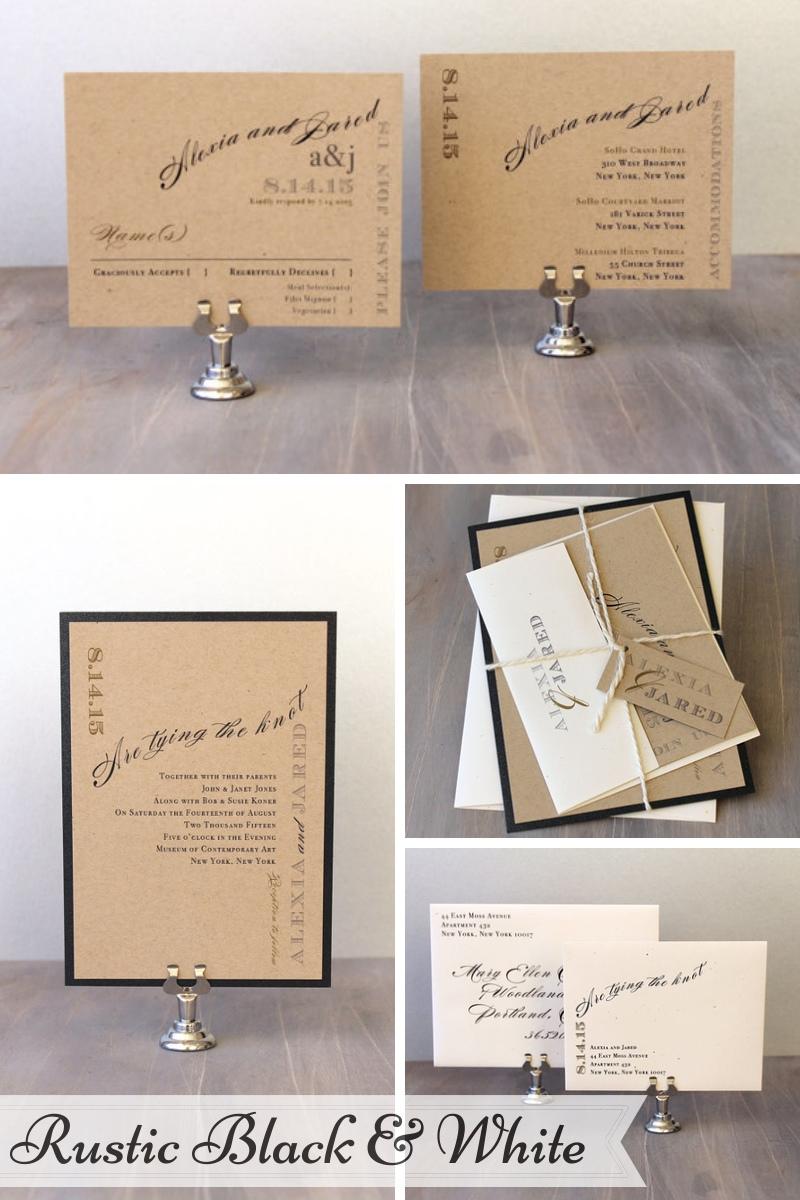 Beacon Lane Wedding Stationery -  Rustic Black & White