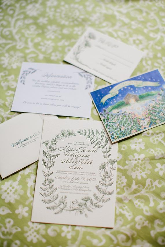 Hand Drawn Wedding Invitations for a New Hampshire Farm Wedding
