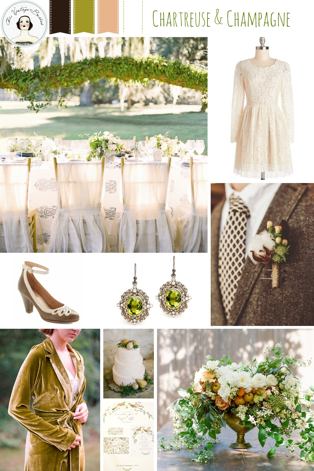 Chartreuse & Champagne Autumn Wedding Inspiration