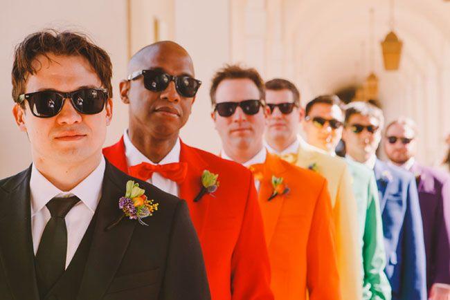 Groom & Groomsmen in Colour - Rainbow